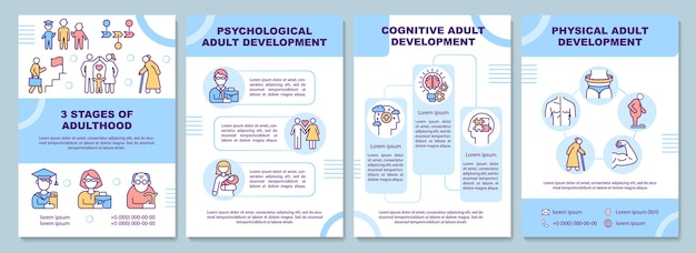 Adulthood development brochure template. stages of maturity. flyer, booklet, leaflet print, cover design with linear icons. vector layouts for presentation, annual reports, advertisement pages