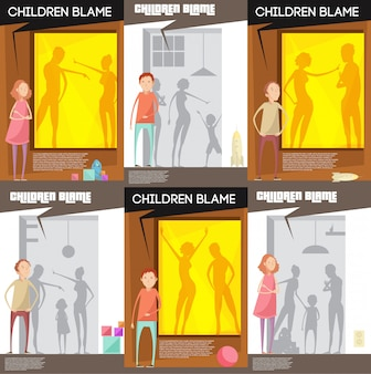 Adults abuse children posters set with unhappy teenage child characters watching quarreling parents