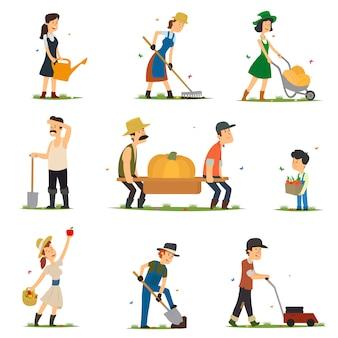 Взрослые и дети работают на ферме