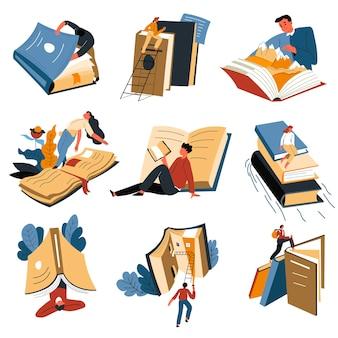 Взрослые и студенты читают книги, открывают для себя новые миры и знакомятся с информацией об окрестностях.