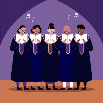 Adults singing together in a gospel choir illustrated