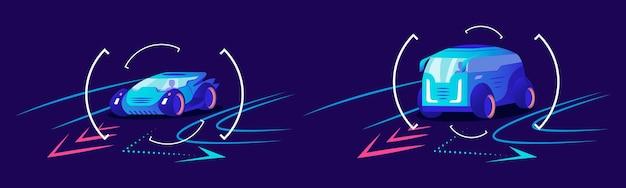 Расширенная автомобильная навигация в плоском цвете s. умная помощь водителю, система анализа трафика, предсказывающая движение автомобиля. автомобили принимают поворот на синем фоне