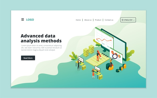 高度なデータ分析方法のランディングページテンプレート