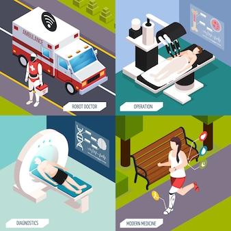 Composizione isometrica di tecnologie mediche avanzate impostata con medico robotizzato e funzionamento completamente automatizzato