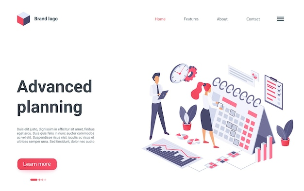 Advanced planning landing page template.