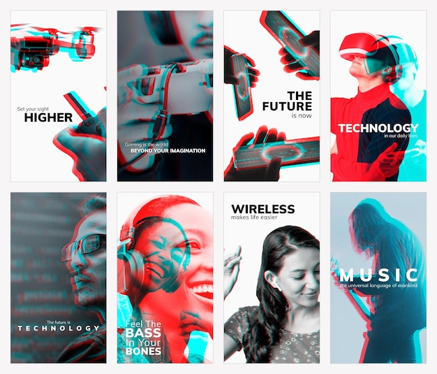 Advanced technology templates vector with double color exposure effect set