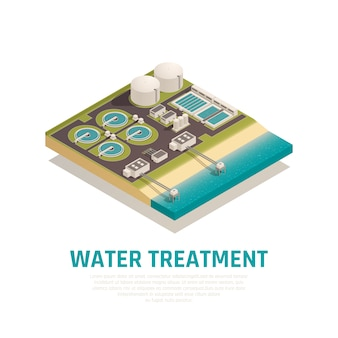 Advanced water treatment plant isometric composition with settling basins filtration separation oxidation wastewater purification facilities