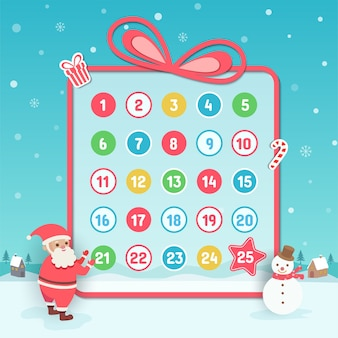 Advent calendar christmas background with santa claus and snowman