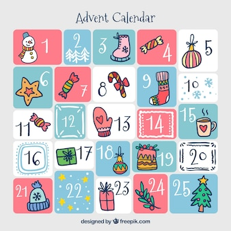 Advent calendar dibujado a mano