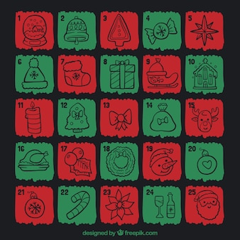 Advent calendar hand drawn in red and green color