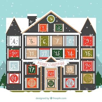 Advent calendar in a house shape