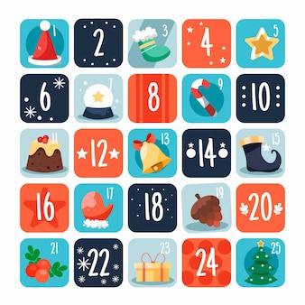 Рождественский календарь в плоском дизайне
