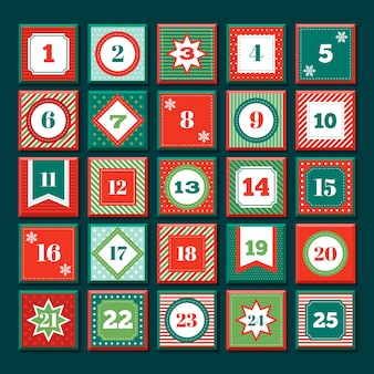 フラットなデザインのアドベントカレンダー