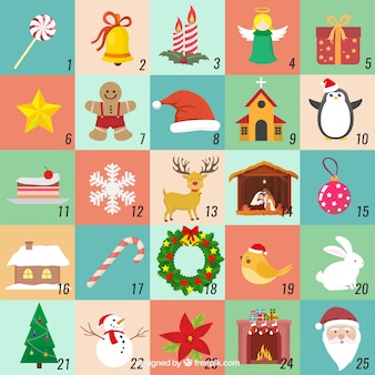 Advent calendar in soft colours