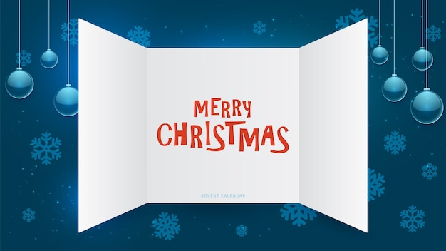 Окно адвент-календаря. рождественский подарок открытые двери, декабрьский рождественский подарок шаблон. новогодний праздничный бумажный макет пригласительного билета. голубая зимняя иллюстрация вектора украшения. рождественский подарок праздник