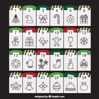 Advent calendar with christmas drawings