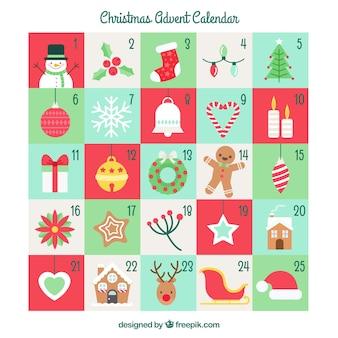 Calendario di avvento con elementi e personaggi di natale