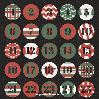 Advent calendar with retro christmas balls