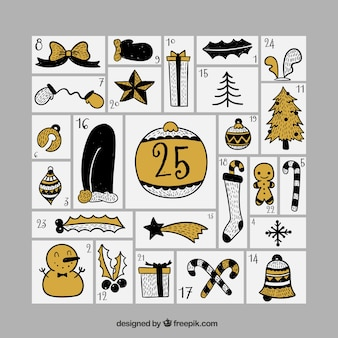 Advent calendar with retro christmas objects