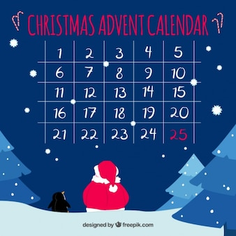 Advent calendar with snowy landscape