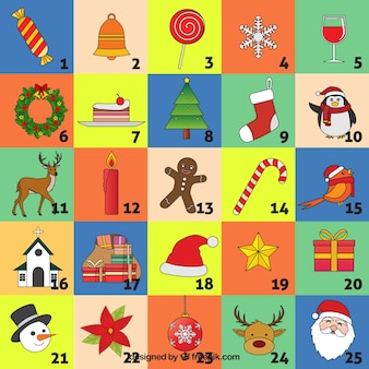 Advent calendar with traditional christmas elements