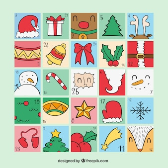 Advent calendar with traditional christmas objects
