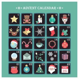 Advent calendar with various jolly christmas elements