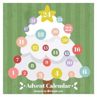 Advent calendar with white christmas tree