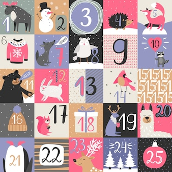 Advent calendar with winter animals
