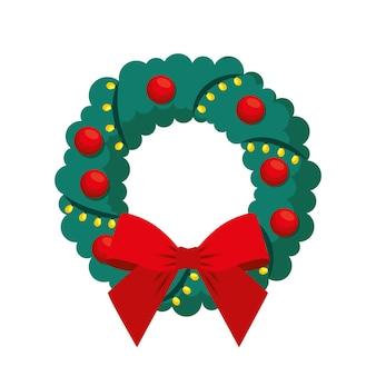 Рождественский венок с шарами и бантом. векторная иллюстрация