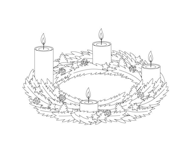 Рождественский венок с четырьмя горящими желтыми свечами и контуром декора
