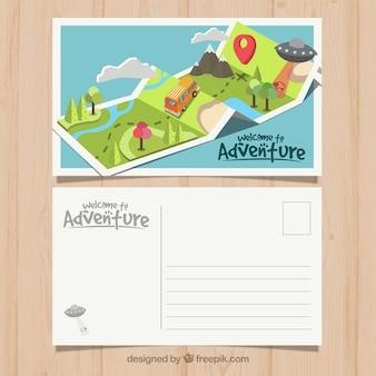 Шаблон открытки для путешествий с стилем adventrure
