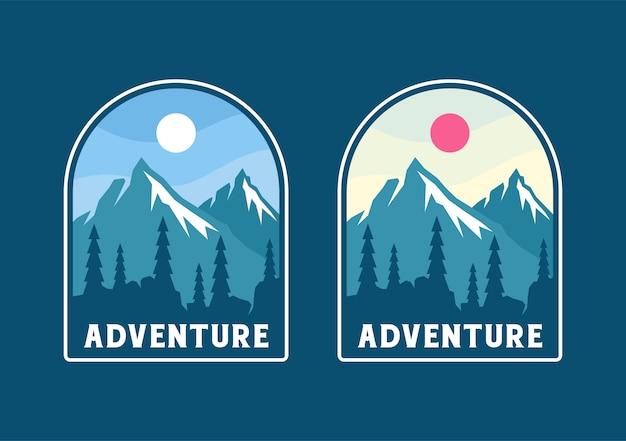 冒険とカラフルなバッジ、ステッカー、パスのデザイン。山の風景と