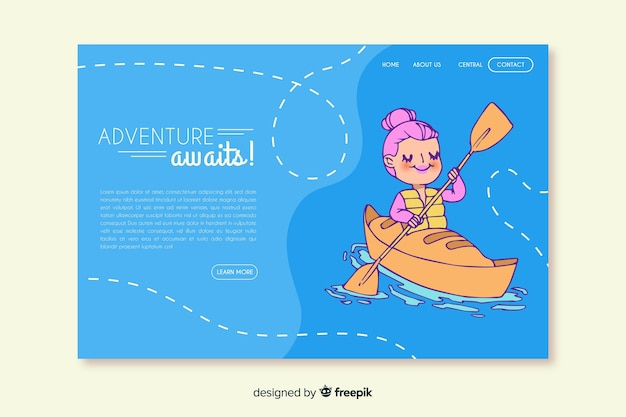 Adventure awaits landing page