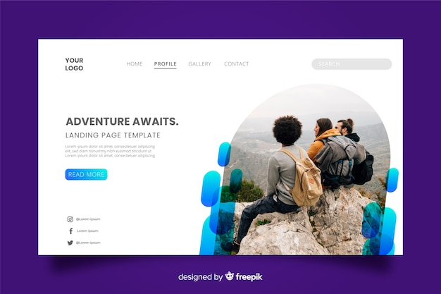 Adventure awaits travel landing page