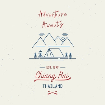 Adventure awaits with chiang rai hand wording. city name in the northern province of thailand. travel concept with abstract watercolor splatters.
