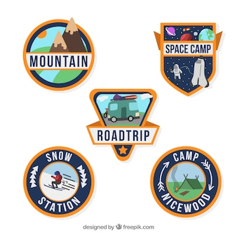 Adventure badge collection with flat design