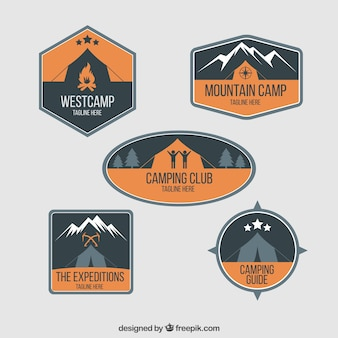 Adventure badges with camping tent in orange color