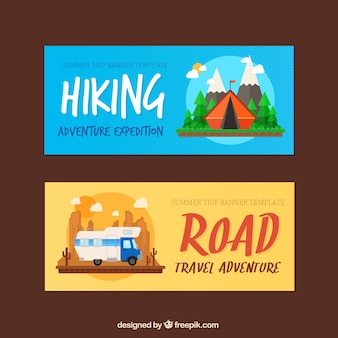 Adventure banners set of hiking and road trip