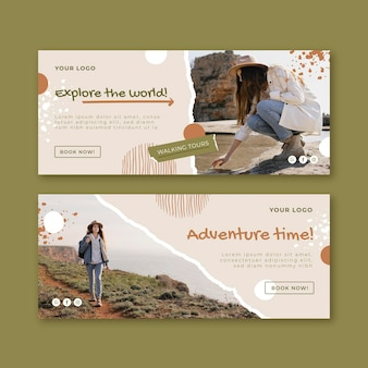 Adventure banners set with photo