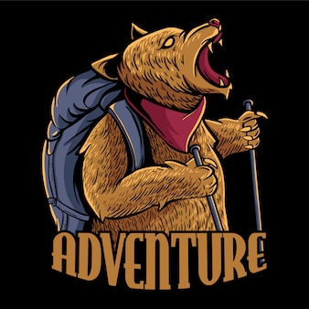 Adventure bear with backpack illustration