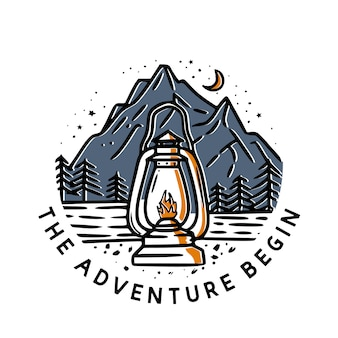 The adventure begin with classic lantern and mountain vintage illustration