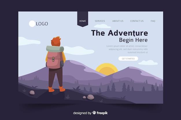 Adventure begins landing page