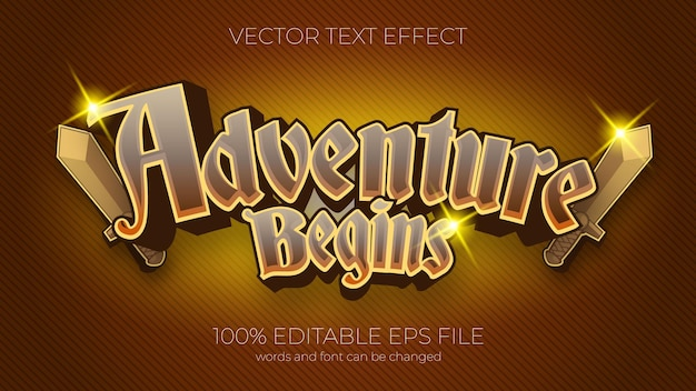 Приключение начинается текстовый эффект векторные иллюстрации