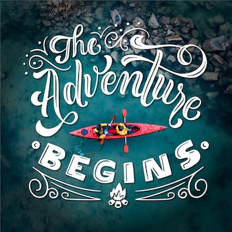 The adventure begins travelling lettering
