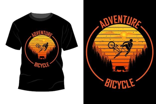 Приключенческий велосипед футболка дизайн макета винтаж ретро