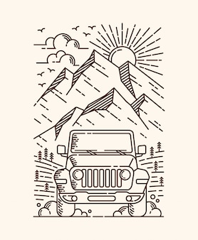 Adventure by car line illustration
