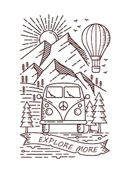 Adventure by cool car line illustration