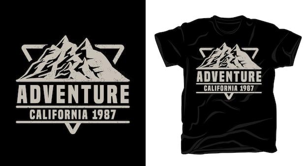 Приключенческая типография калифорнии с дизайном футболки горы
