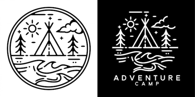 Adventure camp monoline badge design